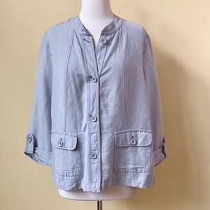 Amber Sun Jackets & Coats - Amber Sun Linen Lightweight Gray Jacket